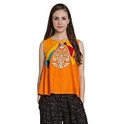 Desi Belle Casual Orange Printed Rayon Croc Top