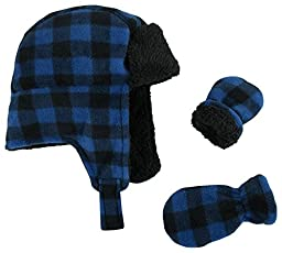 N\'Ice Caps Little Boys and Baby Buffalo Plaid Fleece Trooper Hat Mitten Set (3-6 Months, Royal Infant)