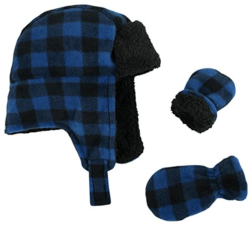 N'Ice Caps Little Boys and Baby Buffalo Plaid Fleece Trooper Hat Mitten Set (6-18 Months, Royal Infant)