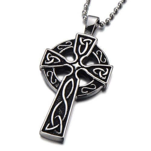 Stainless Steel Mens Celtic Cross Pendant Necklace Silver Black Two-tone with 23.6 in Ball Chain (Necklace Stainless Steel Two Tone compare prices)