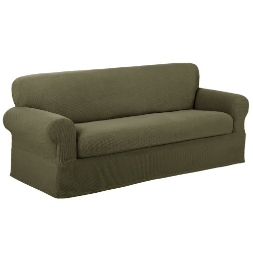 Sofa Slipcover With Separate Cushion Covers: Maytex Reeves Slipcover Sofa Sage Bestseller!