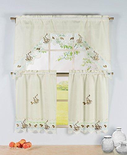 Window Elements Embroidered 3-Piece Kitchen Tier and Valance 60 x 72 Set with Scalloped Border,  Coffee Talk (Kitchen Elements compare prices)