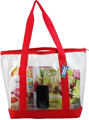 Clear ZIPPER tote with color trim and bottom, Red trim