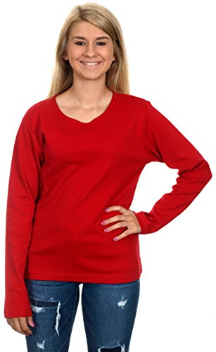 Women's Casual Long Sleeve Shirt (Red, X-Small)