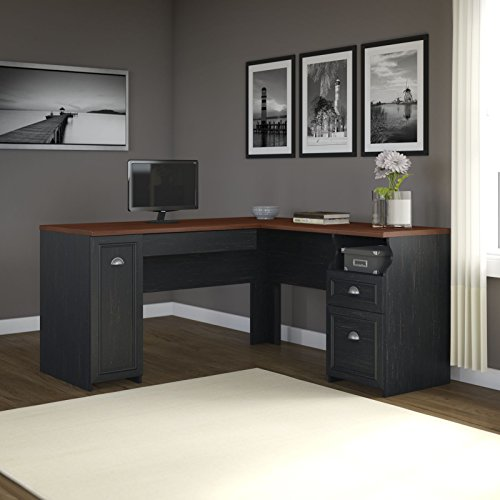 Fairview L Shaped Desk in Antique Black (Bush Fairview compare prices)