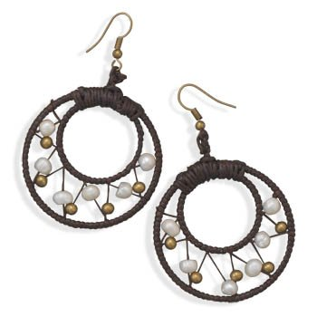 Brown Dreamcatcher Style Round Crochet Earrings with White Pearls and Brass Beads
