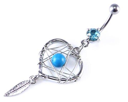 Blue Crystal Gem Heart Shaped Dream catcher Dangle belly bar 14 Gauge = 1.6 x 10mm Length