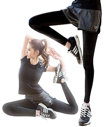 (シェリアン) Chelien 【 レディース フィットネス パンツ 付き 一体型 タイツ 】 ショーパン スポーツ レギンス ブラック グレー かわいい おしゃれ ヨガ ダンス ジム ランニング ジョギング トレーニング + ナイロンポーチ セット R021
