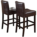 Best Selling Classic Brown Leather Barstool, 2-Pack