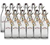 12 x Kilner Clip Top Glass Preserve Storage Bottle - 1 Litre