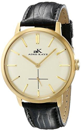 Adee Kaye Classique AK2225-MG 47.68x42.14mm Stainless Steel Case Black Calfskin Mineral Men's Watch