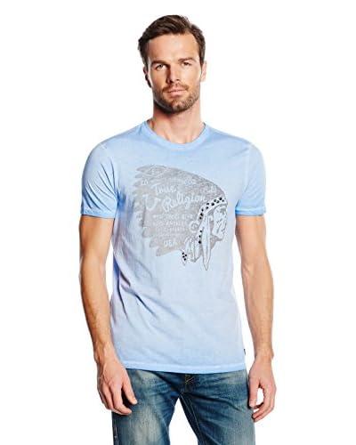 True Religion T-Shirt Manica Corta Indian Castle Rock [Blu Chiaro]