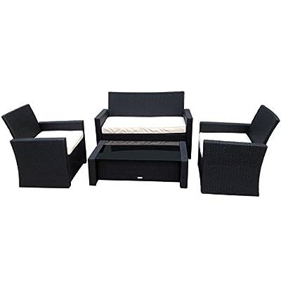 Bentley Garden Deluxe Wicker Rattan 4 Piece Furniture Set - Brown & Beige Or Black & Cream