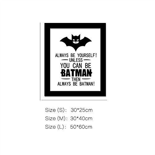 """Yanqiao 19.723.6"""" Cartoon Batman Frameless Canvas Painting Wall Decor for Kids' Room Living Room Decoration DIY English Letters Wall Quotes Poster"""