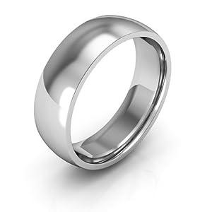 10K White Gold Men's & Women's Wedding Bands 6mm comfort-fit, 8.5