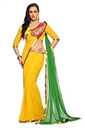 Anvi Yellow faux georgette designer saree with unstitched blouse