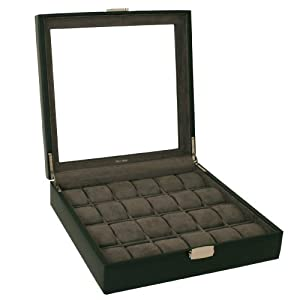 24 Watch Box XL Single Level Black Leather Large Compartments High Clearance Glass Window