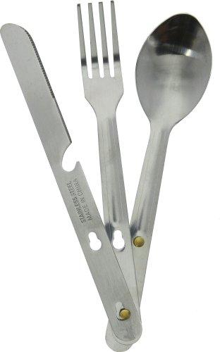4 N 1 Stainless Steel Camping Hiking Emergency Eating Utensil Set, Knife, Fork, Bottle Opener & Spoon