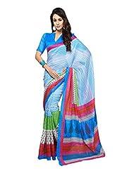 Fabdeal Sky Bhagalpuri Silk Printed Saree Sari Sarees - B00OKA3XCI