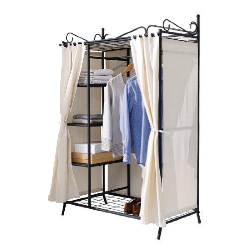 Kleiderschrank-Metall-schwarz-mit-hochwertigem-Vorhang-aus-Baumwolle-und-Polyester-beige-Breezy-Garderobe-109-x-57-x-171-cm