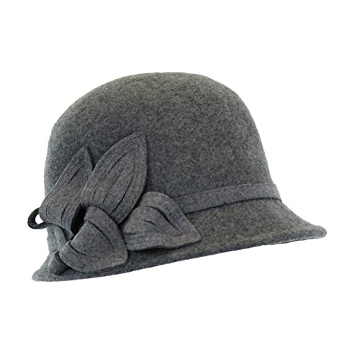 Grey Wool Felt Bell Cloche Hat - Vintage 20s Style Flapper Cap w/ Leaf Appliqué (Burgundy Felt Bonnet)
