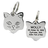 Stainless Steel Cat ID Tags. Available in Mouse & Cat Shapes. Includes up to 4 Lines of Engraved Personalized Text.