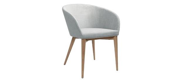 Miliboo - Poltrona scandinava grigio chiaro e legno COPPIA DI 2 DALIA