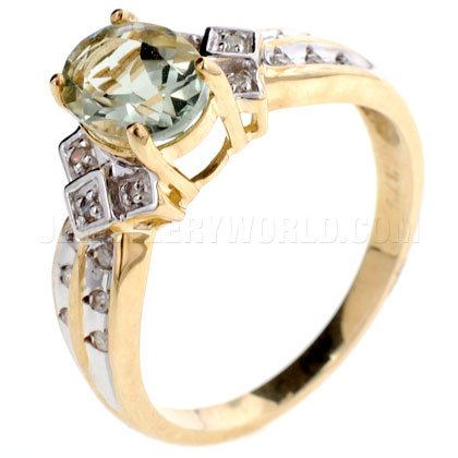 Green Amethyst & Diamond Shoulders 9ct Gold Oval Ring