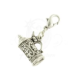 Alpenflustern Charm Beer Mug (antique silver coloured) - Traditional Bavarian Oktoberfest Jewelry, Pendant & Charm for Necklace, Charivari and Octoberfest Bracelet by Alpenflustern