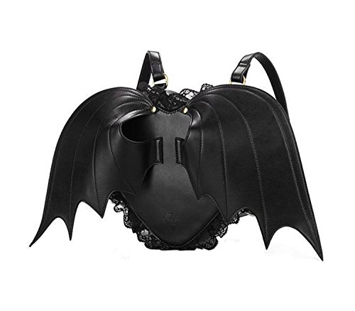 20*20*8cm Black Pu Angel Bag Devil Love Bat Wings Backpack for Girls MJ83