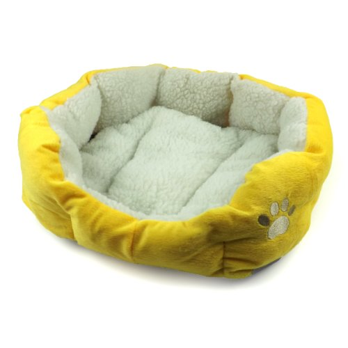 Colorful Dog Bed  Soft Mat Cat Dogs Kennel (Yellow)