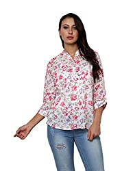 Vastrasutra Pink Women's 3/4th Sleeves Floral Print Party wear Top