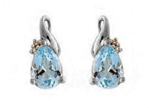9CT White Gold Diamond Set Teardrop Blue Topaz Stud Earrings