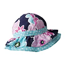 Baby Girl Cotton Ruffled Sunhat (Infant (0-18 months), Polka Dots and Flowers)