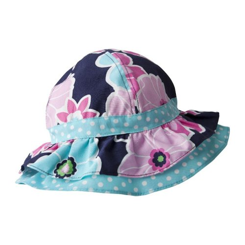 Baby Girl Cotton Ruffled Sunhat (Infant (0-18 Months), Polka Dots And Flowers) front-913969