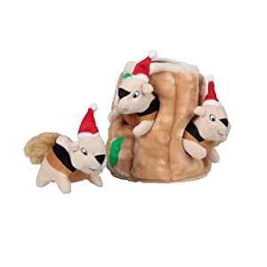 Outward Hound Kyjen  2575 Holiday Hide-A-Squirrel Interactive Squeaking Plush Dog Toys, Large, Brown
