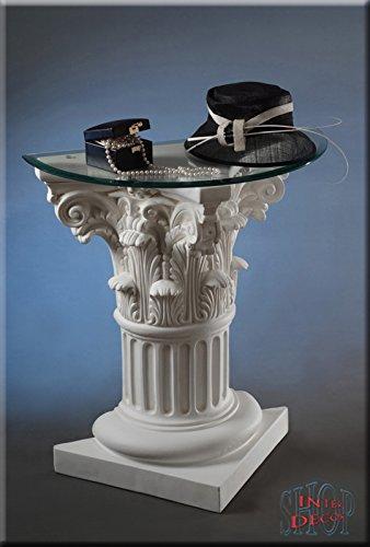 Griechisch-Telefontisch-Antik-Blumentisch-Beistelltisch-Glastisch-Tisch-Sule
