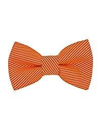Tiekart Orange Striped Men Bow Ties