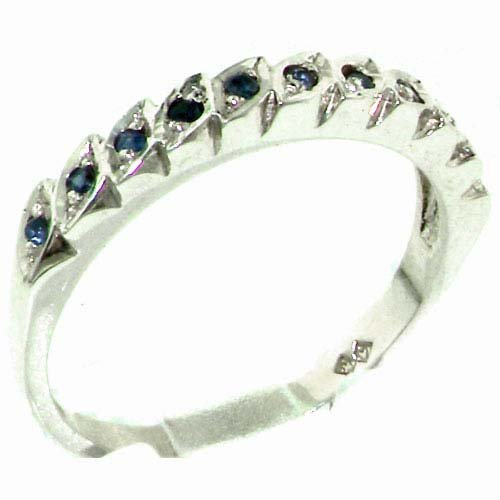 Genuine Solid Sterling Silver Natural Sapphire Eternity Ring - Size 11.25 - Finger Sizes 4 to 12 Available - Suitable as an Anniversary ring, Engagement ring, Eternity Ring, or Promise ring