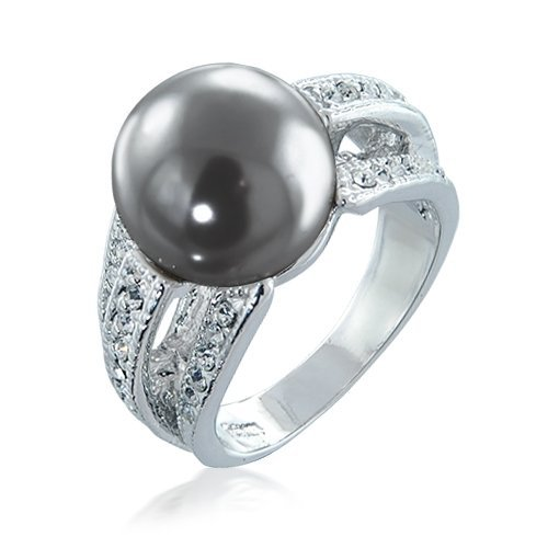 Bling Jewelry Pave CZ Tahitian Shell Grey Pearl Cocktail Ring