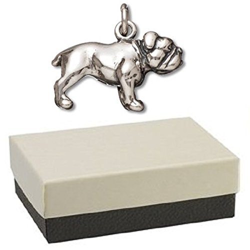 Gift Boxed Sterling Silver Bulldog Charm Dog Jewelry Animal Pendant for Bracelet or Necklace (Bulldog Mom Keychain compare prices)