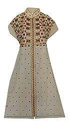 Phulkari Craft Women's Cotton Unstitched Kurti (PC0005_Beige_Free Size)