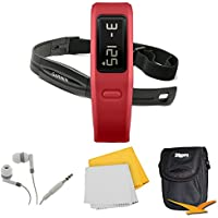 Garmin Vivofit Fitness Band W Heart Rate Monitor Red 010-01225-38 Bundle - Includes Fitness Band W Heart Rate...