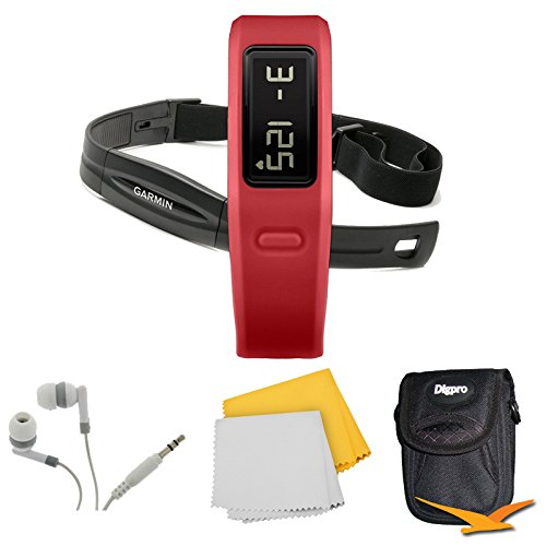 Garmin-Vivofit-Fitness-Band-w-Heart-Rate-Monitor-Red-010-01225-38-Bundle-Includes-Fitness-Band-w-Heart-Rate-Monitor-Noise-Isolation-Headphones-Carrying-Case-and-1-Piece-Micro-Fiber-Cloth