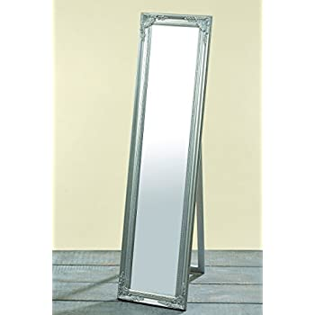 The Rustic French Country Style Floor Mirror, Silver, Artist's Easel Back Stand, Over 5 Ft Tall, Sustainable Wood and Glass, By Whole House Worlds