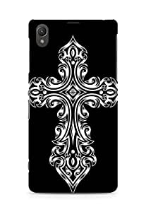 Amez designer printed 3d premium high quality back case cover for Sony Xperia Z1 C6902 (Tribal cross)