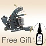Getbetterlife New Tattoo Machine Gun Black Iron for Liner 8 Wrap Coils Supply with 1 Free ink TM-S002