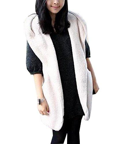Qinol Fleece Gilet Fur Coat Hoodie Jacket Hooded Waistcoat Vest Outerwear