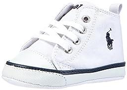 Ralph Lauren Layette Harbour Hi Top Sneaker (Infant/Toddler),White/Navy,4 M US Toddler