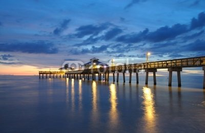 """Wallmonkeys Peel and Stick Wall Decals - Fort Myers Pier at Sunset, Florida Usa - 36""""W x 23""""H Removable Graphic"""
